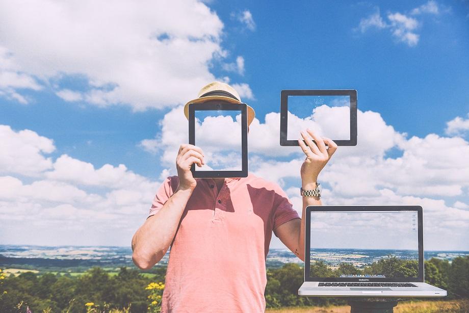 naturaleza ordenador tablet nubes