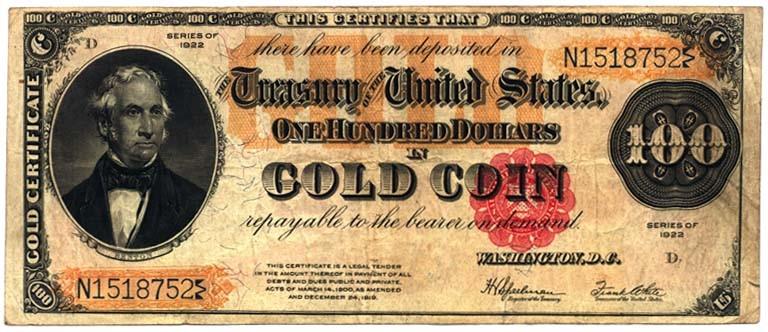 certificado estadounidense oro