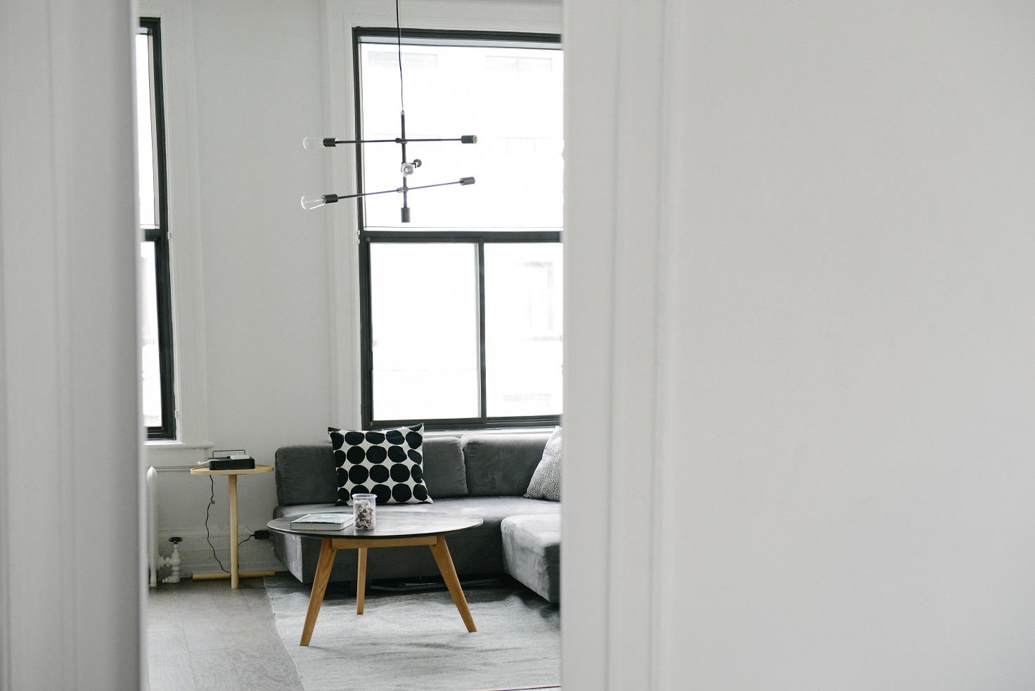 salon sofa blanco casa minimalista