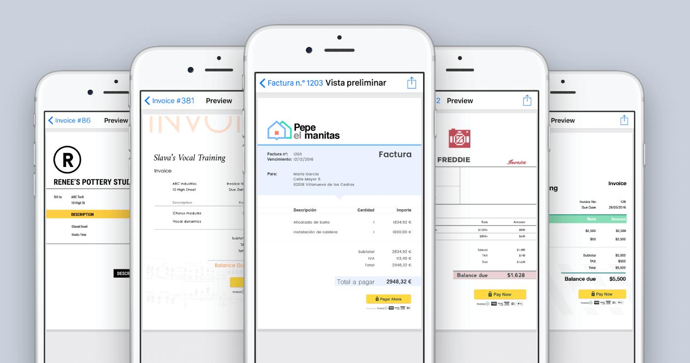 app invoice2go interfaz factura