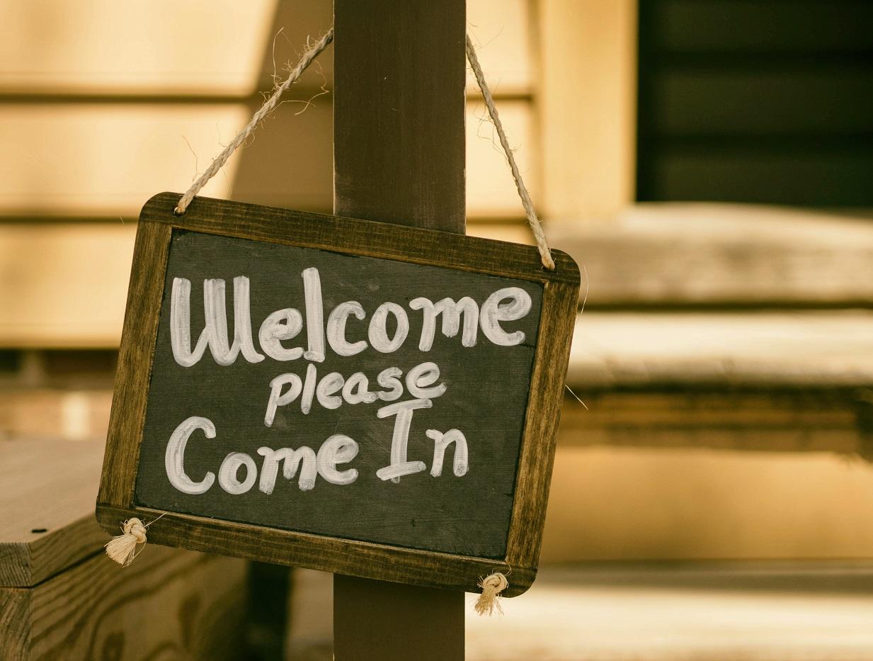 pizarra bienvenida welcome negocio