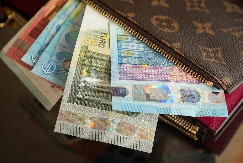 monedero abierto billetes euro