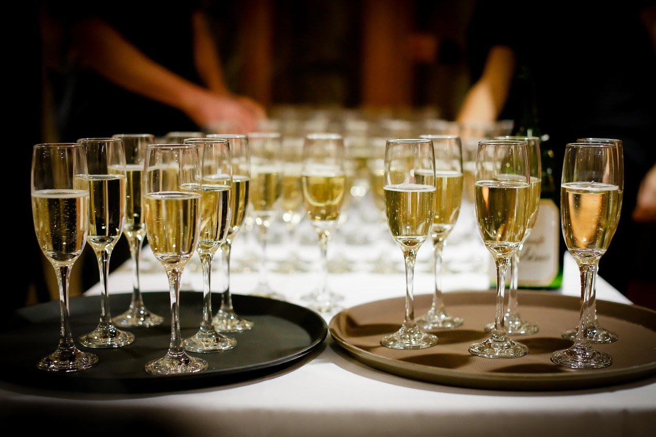 bebida champagne copas bandeja